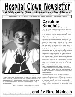 Front Page of Vol. 6 No 2 featuring Caroline Simonds and Le Rire Medecin of France