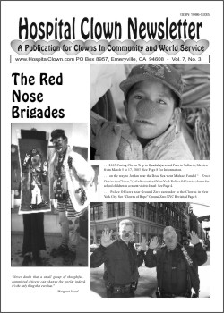 Front Page of Vol 7  No 3 showing somr the of the Red Nose Brigades  - Traveling clowns