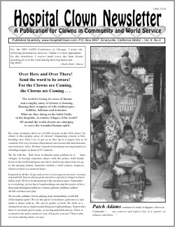 Front Page of Vol 8 No 4 featuring Patch Adams Clown Ambassador trip to Cambodia